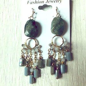 Jewelry - GENUINE GEMSTONE AND CRYSTAL CHANDELIER EARRINGS!